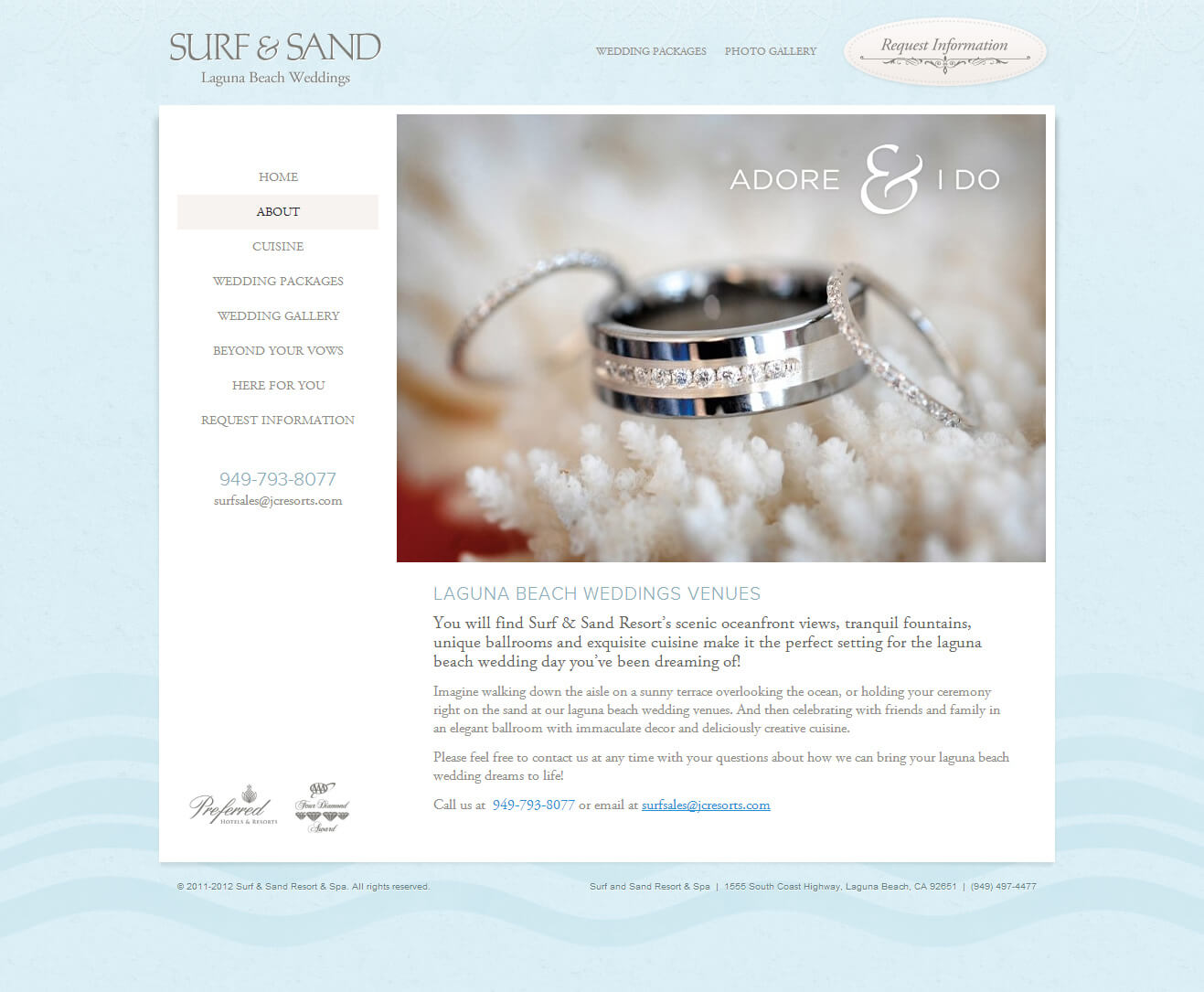 Surf & Sand Weddings Microsite