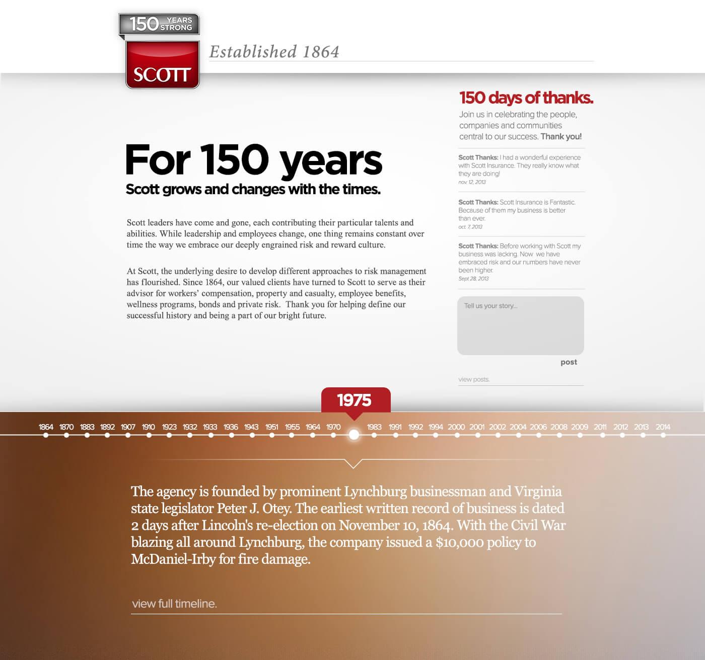 Scott Insurance 150th Landing Page
