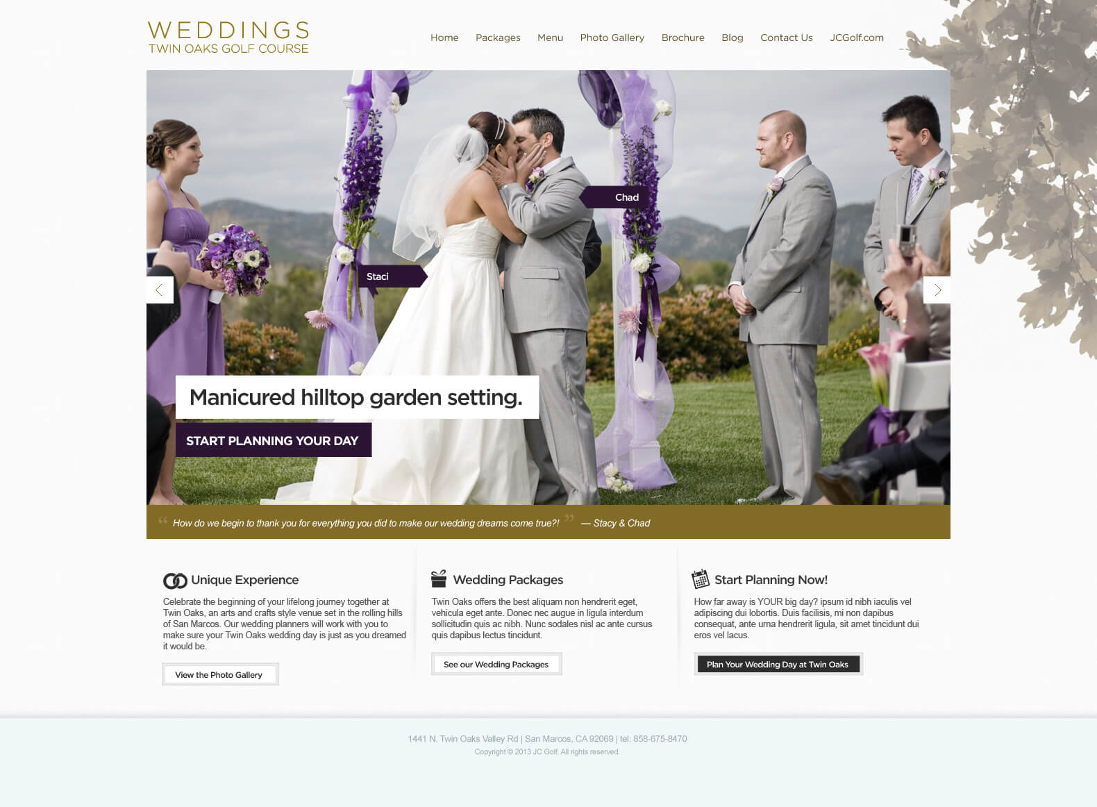 Twin Oaks Weddings Microsite